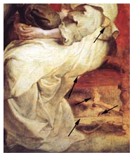 arrows pointing to underpainting showing through
